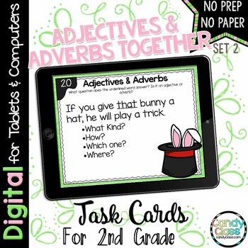 Adjectives & Adverbs - Set 2 - Digital Task Cards for Google Use