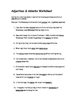 Adjectives & Adverbs Worksheet