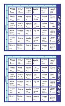 Adjectives Battle Ship Board Game