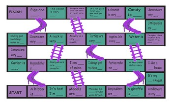 Adjectives Chutes and Ladders Board Game