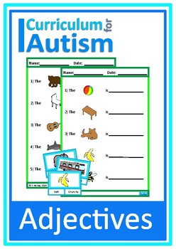Autism, Adjectives Clip Cards & Worksheets , Special Educa