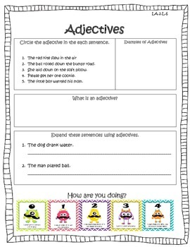 Adjectives Common Formative Assessment