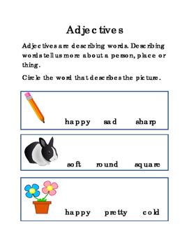 Adjectives English Language Arts Literacy Reading Comprehe