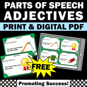 FREE Adjectives Task Cards for Parts of Speech Grammar Gam