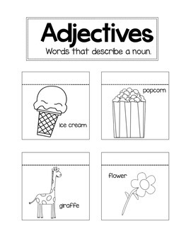 Adjectives Interactive Notebook Page