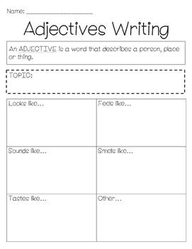 Adjectives Organizer