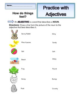 Adjectives Packet: 6 worksheets with Answer Key