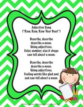 Adjectives Song Printable
