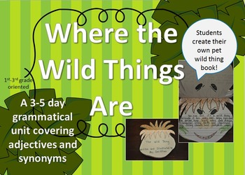Adjectives, Synoyms, and Pet Wild Thing Book Using Where T