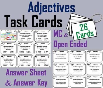 Adjectives Task Cards/ Adjectives Activity/ Grammar Task C