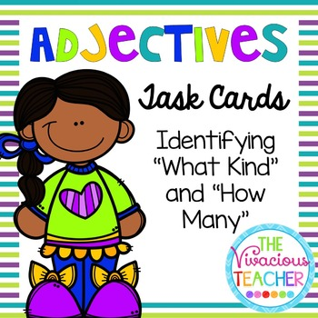 """Adjectives Task Cards/ Scoot Activity: Identifying """"What K"""