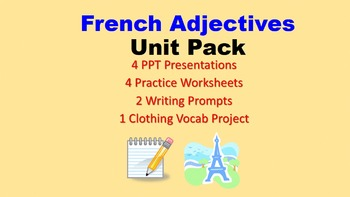 Adjectives Unit Pack:  PPT Lessons, Worksheets, Writing Pr
