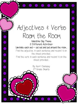 Adjectives & Verbs - Roam the Room - Valentine's Day Theme