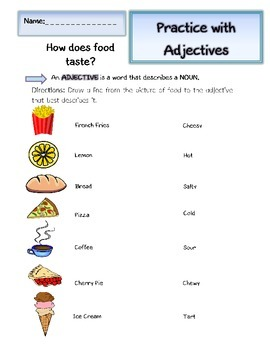 Adjectives Worksheets (2): How do things taste?