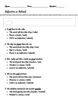 Adjectives and Adverbs Assessment