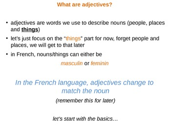 Adjectives and Colours