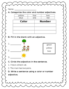 Adjectives - color + number - Journeys Unit 1, Lesson 4