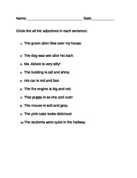 Adjectives in sentences