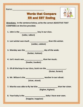 Adjectives that compare - ER and EST Endings - Common Core