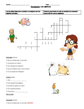 Adjectives Crossword Puzzle- Spanish to Spanish!