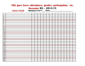 Admin pack - attendance, seating chart, absent work, weekl