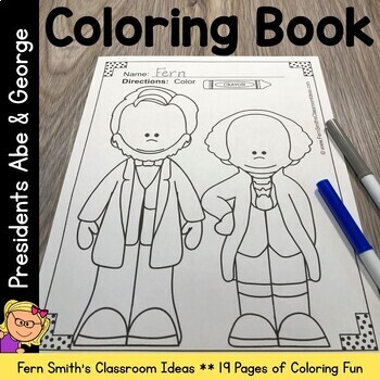 Coloring Pages for Presidents' Day with George and Abe!