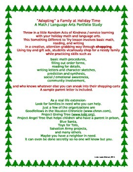 Adopting a Family at Holiday Time- A Math/Language Arts Po