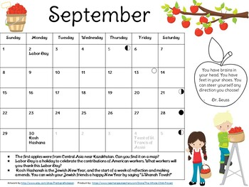 Adorable, Editable Monthly Calendars with Poems or Lit. Ex