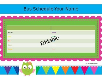 Adorable Owl Bus Schedule for the Beginning of the School Year