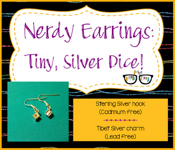 Adorable Tiny, Silver Dice earrings.