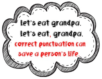"Adorable, witty ""correct punctuation"" sign!"