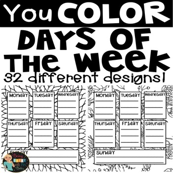 Coloring Days of the Week Notes