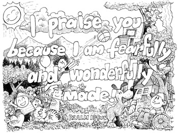 Adult Coloring Pages for Everyone: Psalm 139:14