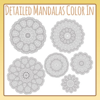 Adult Level Color In Detailed Coloring Mandalas 3 Clip Art