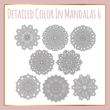 Adult Level Color In Detailed Coloring Mandalas 6 Clip Art