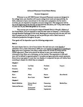 Advanced Placement U.S. History Summer Assignment Terms an