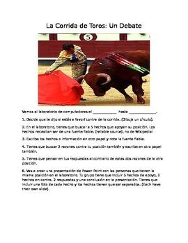 Advanced Spanish- Debate Bullfighting