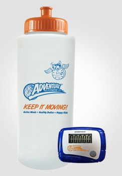 Adventure to Fitness Sport Water Bottle + Pedometer