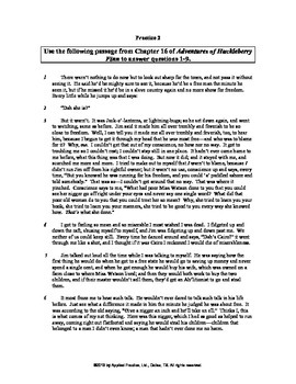 Adv of Huckleberry Finn Ch 16 English skills worksheet by