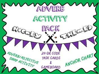 Adverb Activity Pack- Anchor Chart, Worksheet, QR Code Tas