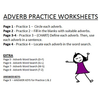 Adverb Practice Worksheets - Identification, Usage, Word searches