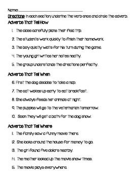 Adverb Practice or Assessment