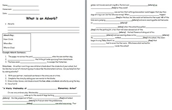 Adverb Silly Story and Note Sheet