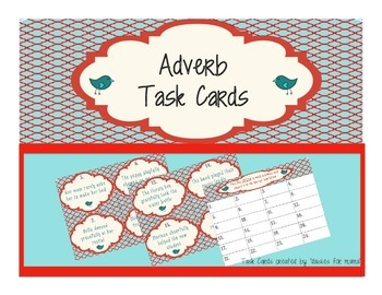 Adverb Task Cards Great for Centers, Scoot, Differentiatio