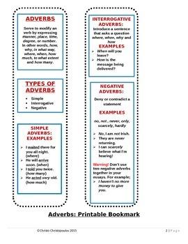 Adverbs Bookmark