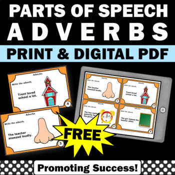 free adverbs task cards activities games