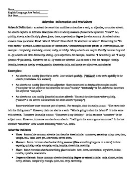 Adverbs Information and Worksheet