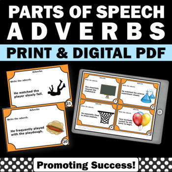 Adverbs Task Cards & Games for Special Education Literacy Centers