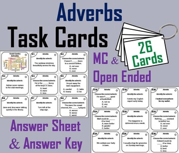 3rd 4th 5th Grade Adverbs Task Cards