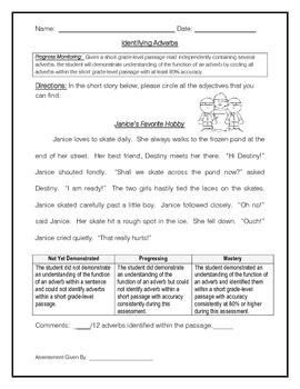 Adverbs Within A Short Passage 1 - IEP Goal Progress Monitoring